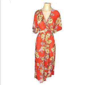Orange Floral Sheer Maxi with attached waist tie